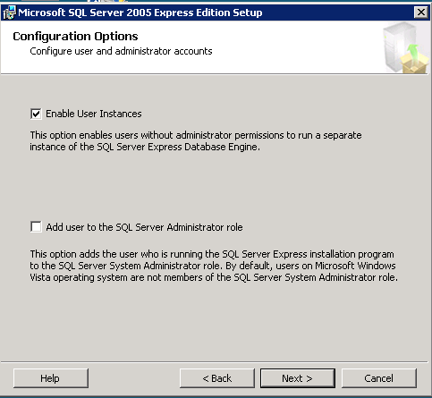 options when adding a new SQL server instance