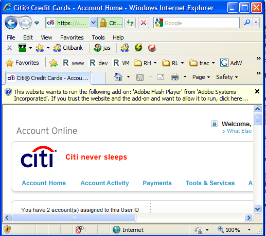 "Citibank page showing ""website wants to load Adobe Flash Player"""