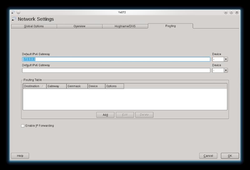 Linux Network settings Gateway