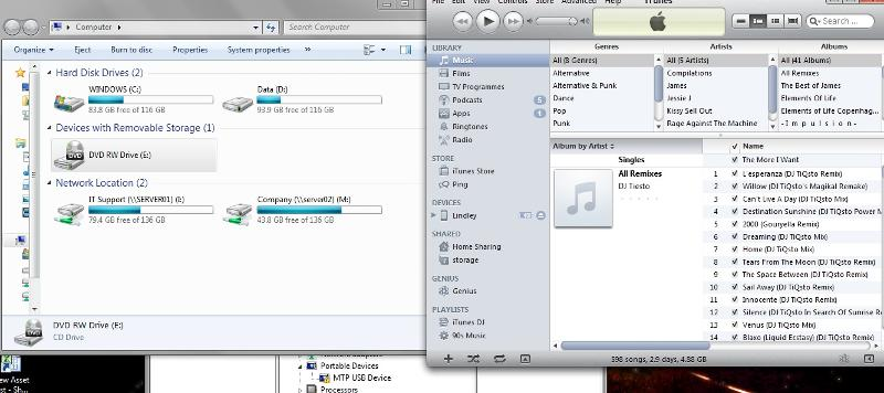Screenshot, showing iTunes, My Computer, and Device Manager