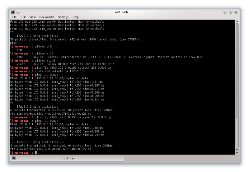 snapshot of terminal showing commands and results