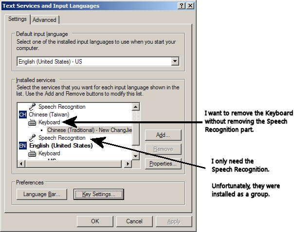 Windows XP Text Services and Input Languages