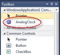 AnalogClock UserControl in the ToolBox