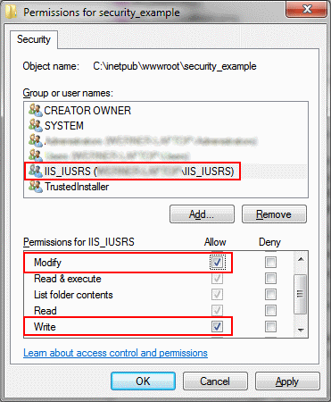 Set the correct write permissions for the user