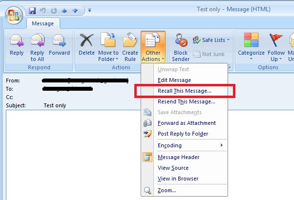 Screenshot from Outlook 2007