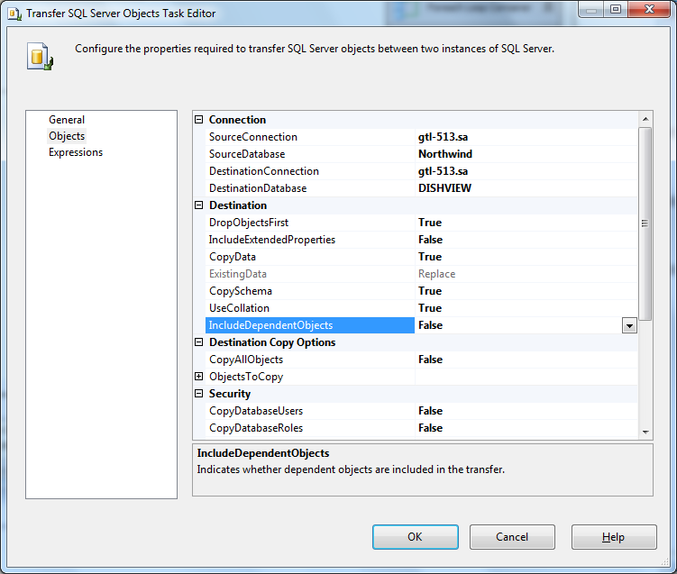 Transfer SQL Server objects task
