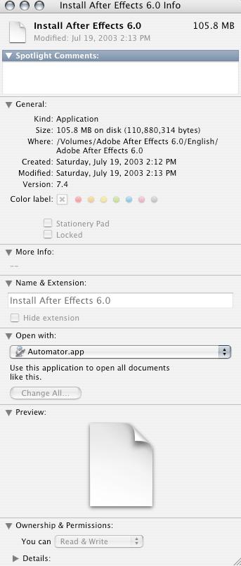 AE6 installer info window