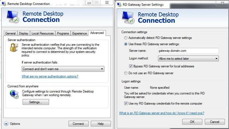 Remote Desktop Gateway Settings