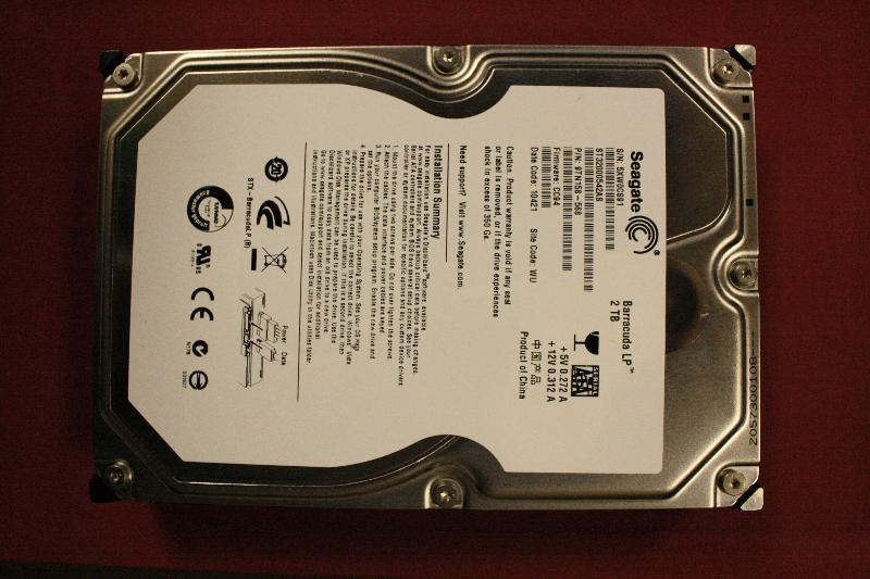 Front side of hard drive.