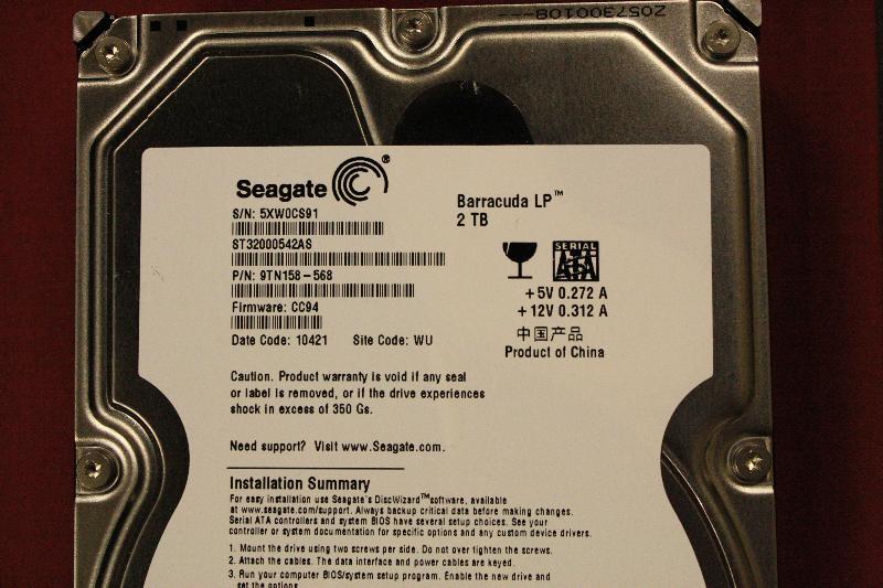Hard drive details.