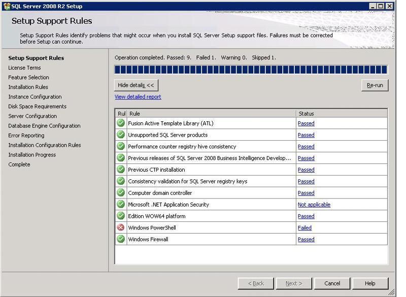 SQL Install Check Screen