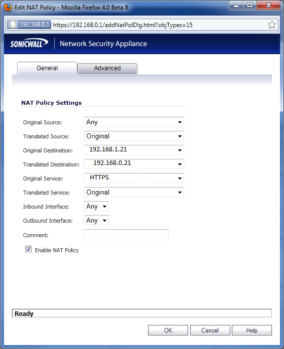 SonicWall NAT Policy