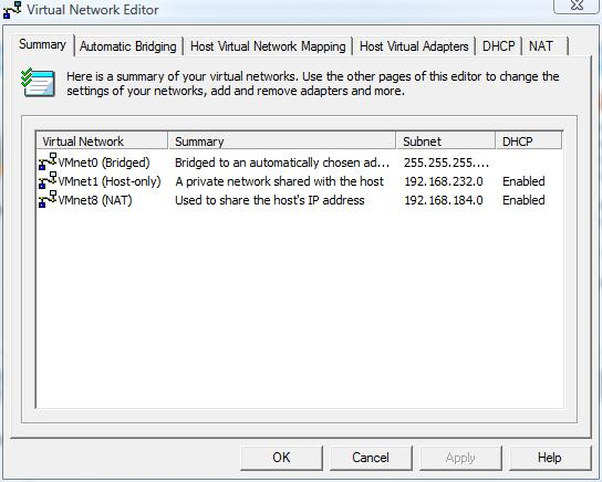 Virtual Network Editor you can start from Start Programs VMware