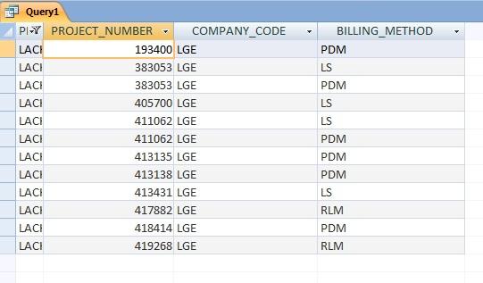 Access Screenshot of Data