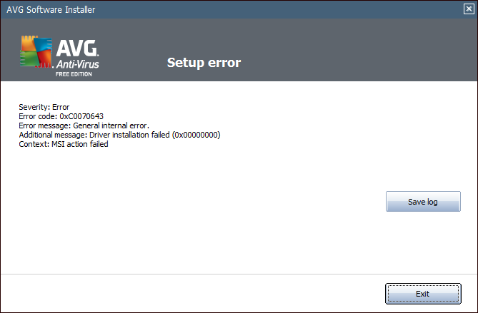 AVG Error Screen