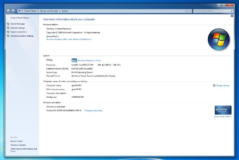 screen shof of memory usage by windows 7 64 bit.