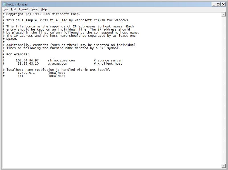 Standard Host File  on Win7