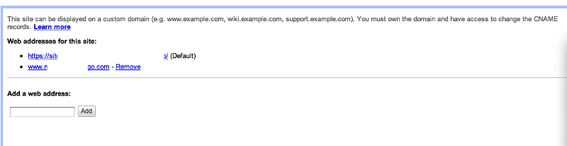 I can enter the Domain at Google sites