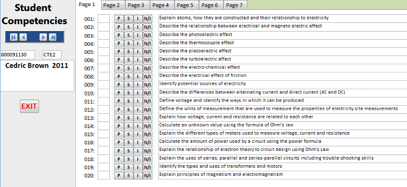 Screen shot of my input form