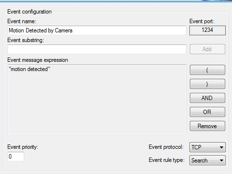 Screenshot of event/port setup for recording software