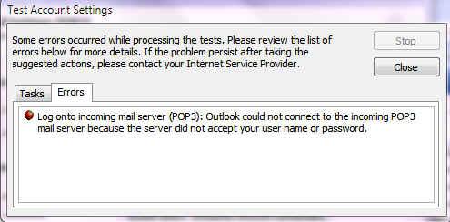 Error on Outlook