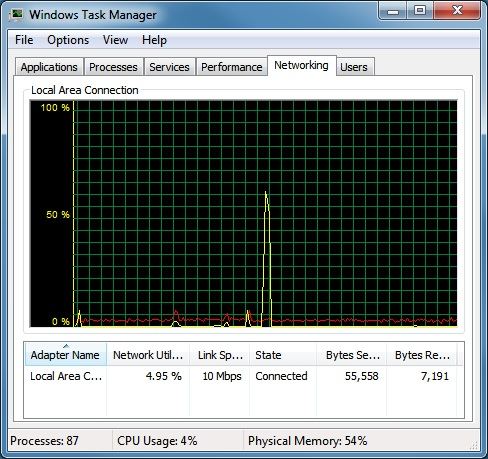 Networking tab of Task Manager