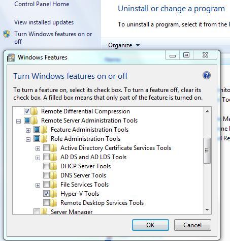 Enable Hyper-V Manager in Windows 7