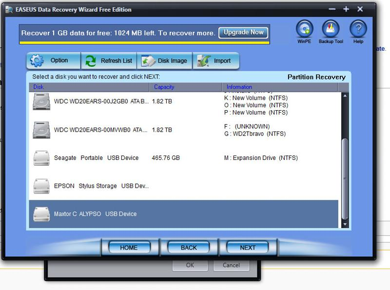 EASUS Data Recovery Wizard Disk Detected