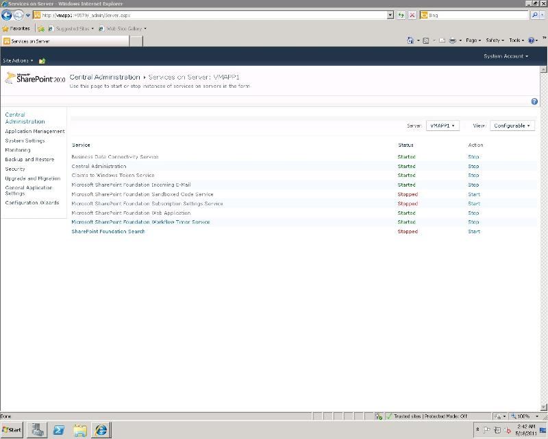 services running on Application Server