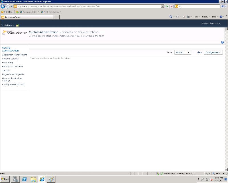 Services running on Database Server
