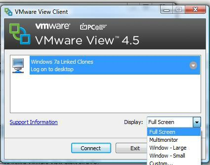 screen resolution on vmware view linked clones