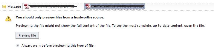 PDF Preview Handler in Outlook 2010