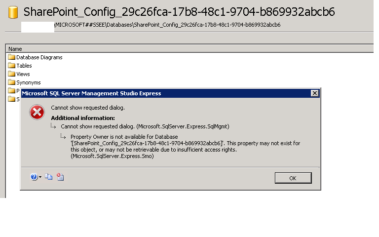 Cannot change owner name for sharepoint internal database databse properties error ccuart Choice Image