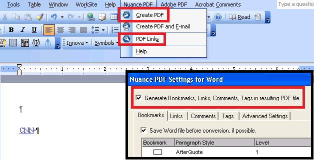loss of hyperlink functionality when converting from file to pdf