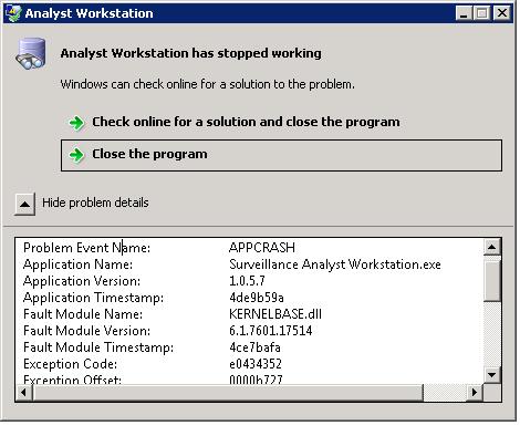 How do I fix a  Net windows app crashing at startup on a client