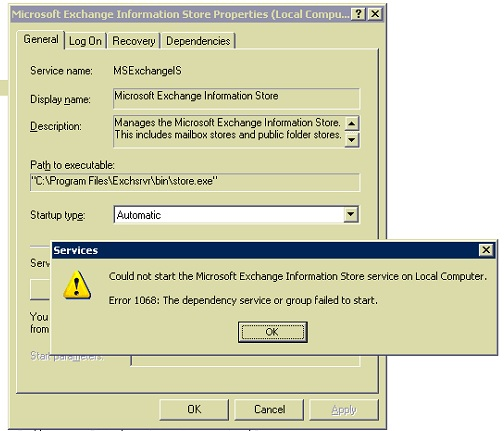 Unable to start Microsoft Exchange Information Store service