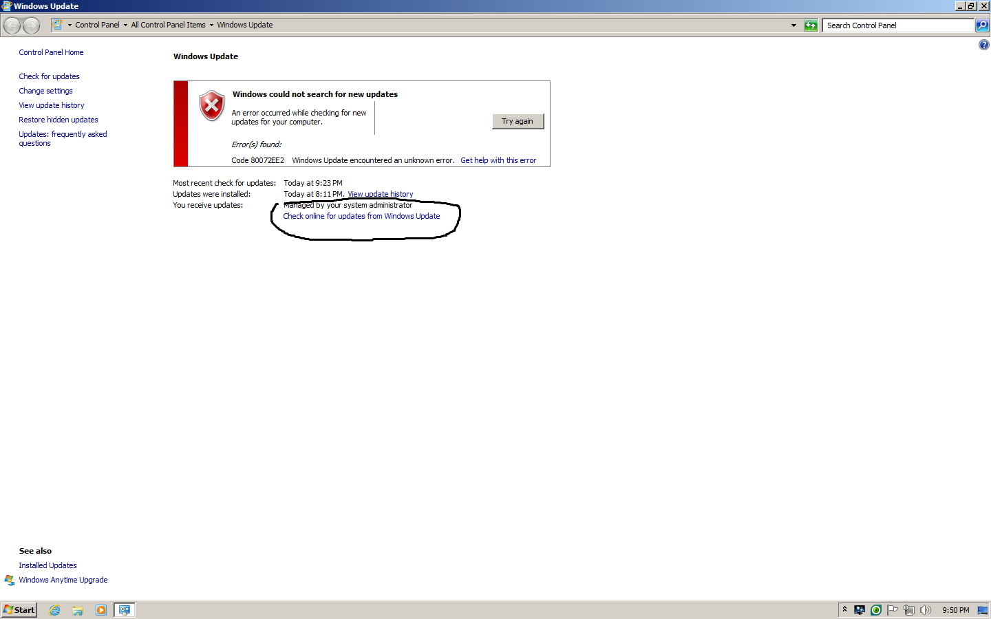 Windows Updates does not work on Win 7 Pro