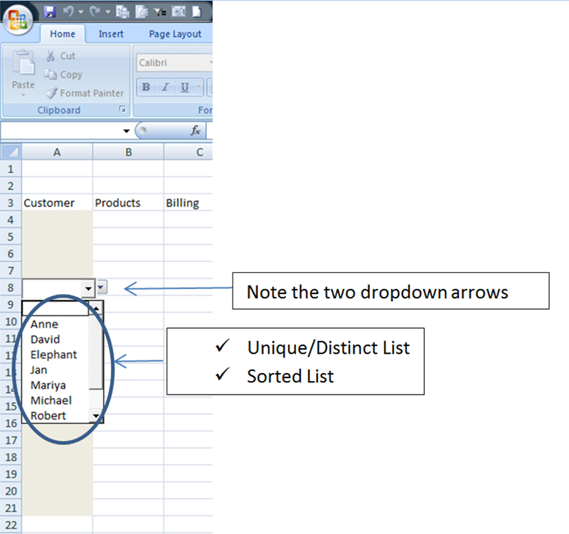 Dynamic DV! delivers a distinct, sorted list for the DV dropdown