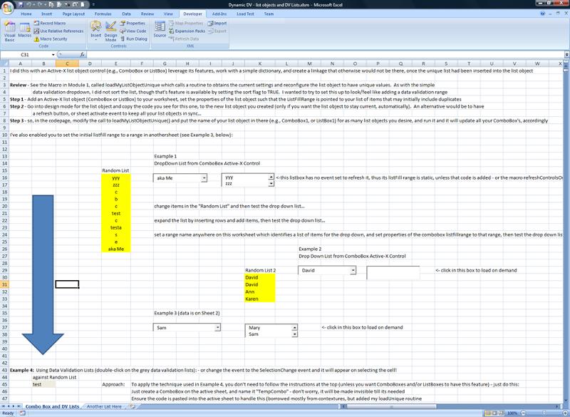 Demo Workbook for dynamic listObjects DV list evaluation