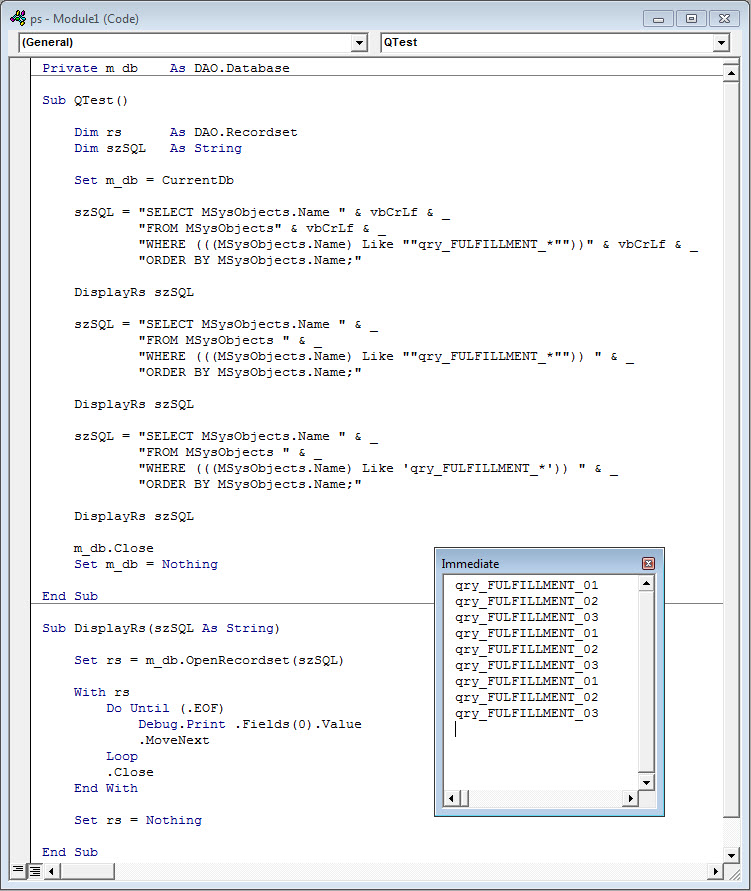 vba function querying MSysObjects table returns zero records