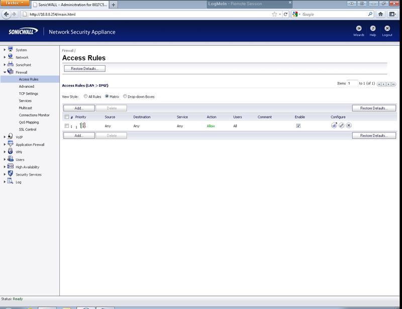 SonicWall DMZ to LAN basic help