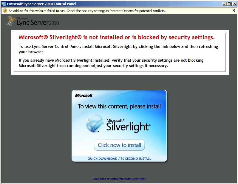 SOLUTION] Microsoft Lync Server 2010 Control Panel is not