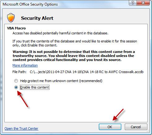 Security Options dialog