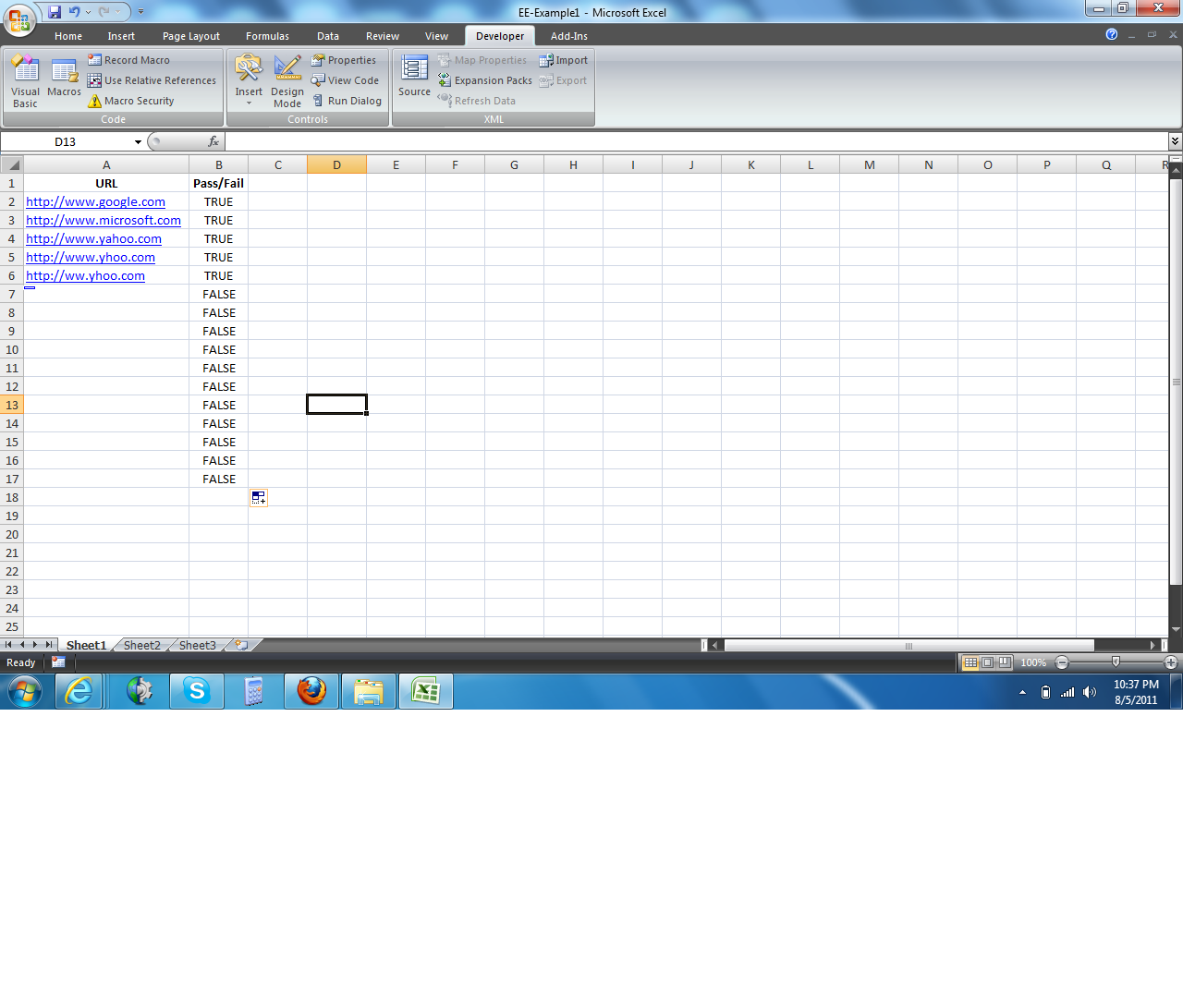 vba check URL if it is active or not