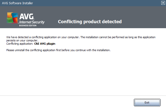 AVG installation error screenshot