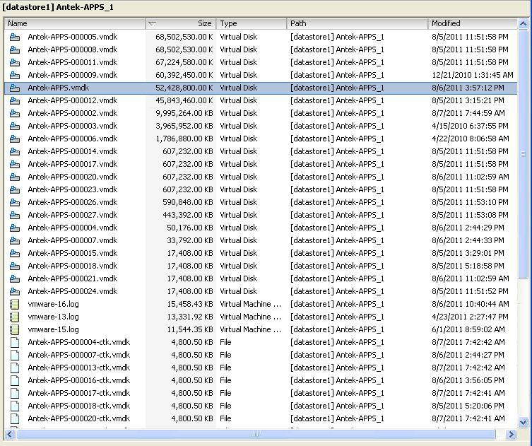 Datastore file listing