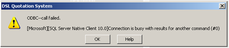 ODBC Error Message