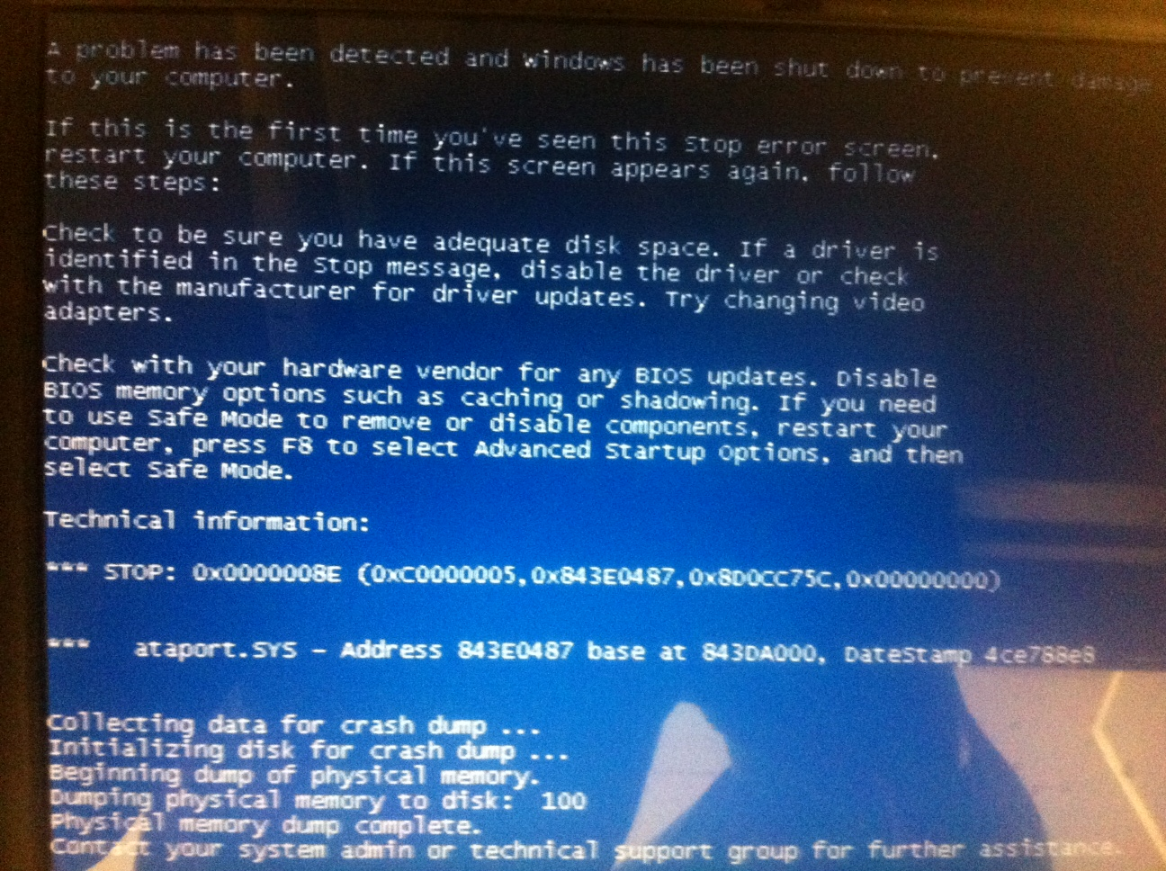 Windows 7 Blue Screen 0x0000008E ataport SYS