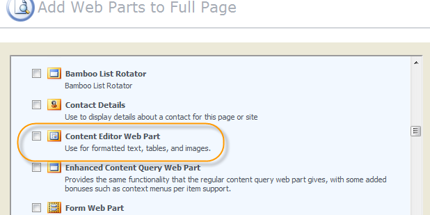 Select Custom Web Part
