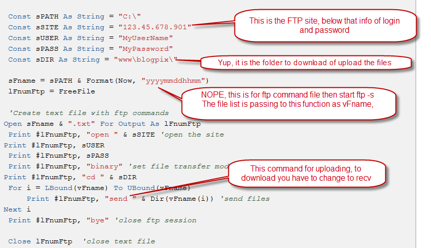 Download files from ftp save in specified directory